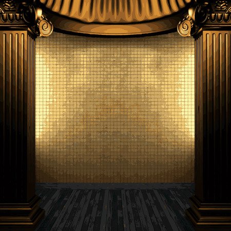 tile wall: vector bronze columns and tile wall Illustration