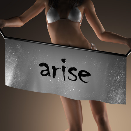 arise: arise word on banner and bikiny woman