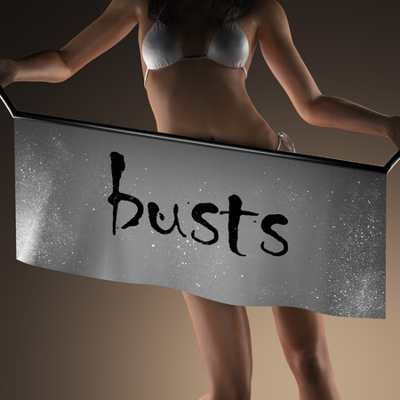 busts: busts word on banner and bikiny woman Stock Photo