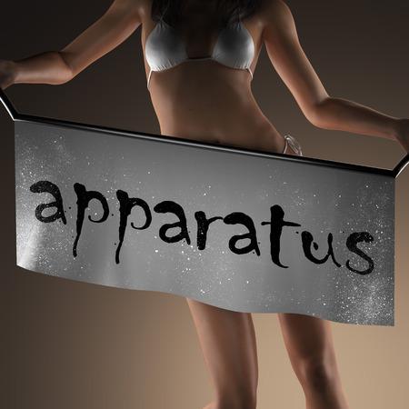 apparatus: apparatus word on banner and bikiny woman Stock Photo