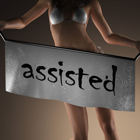 assisted: assisted word on banner and bikiny woman Stock Photo