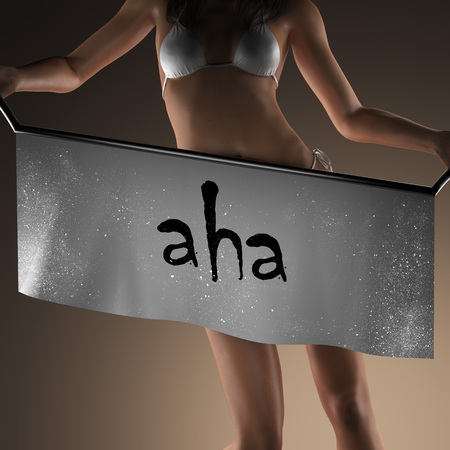 aha: aha word on banner and bikiny woman Stock Photo
