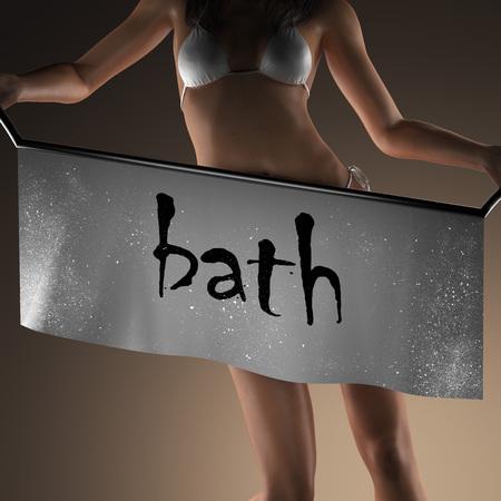 woman in bath: bath word on banner and bikiny woman