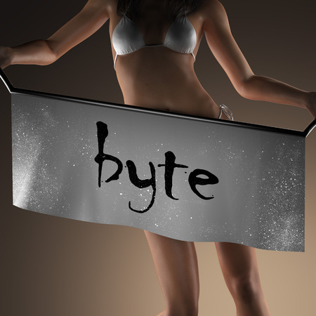 byte word on banner and bikiny woman