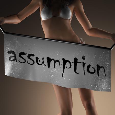 assumption: assumption word on banner and bikiny woman Stock Photo