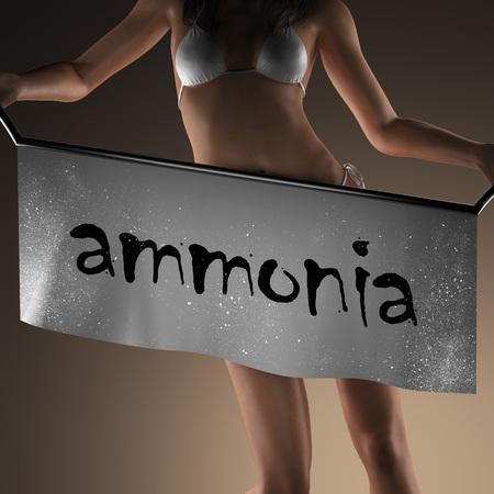 amoniaco: palabra de amoniaco en la bandera y la mujer bikiny
