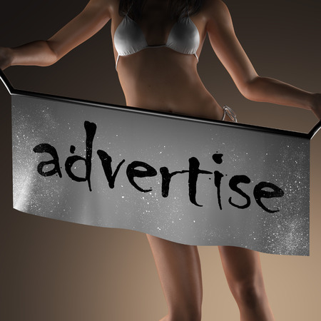 advertise: advertise word on banner and bikiny woman