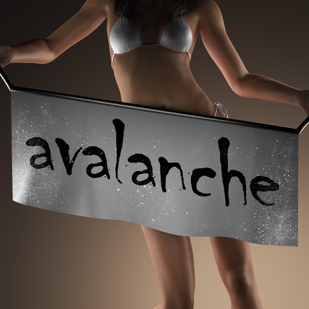 avalanche: avalanche word on banner and bikiny woman Stock Photo