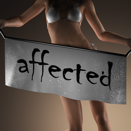 affected: affected word on banner and bikiny woman