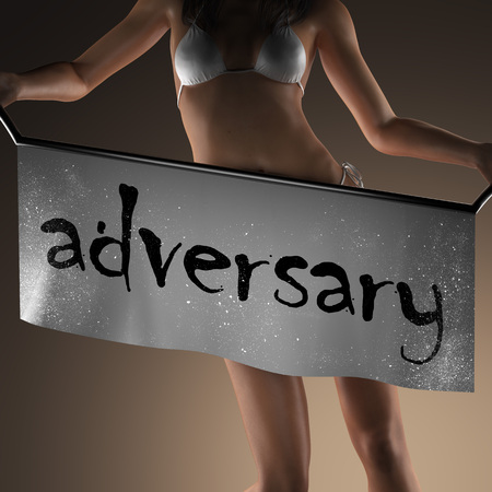 adversary: adversary word on banner and bikiny woman Stock Photo