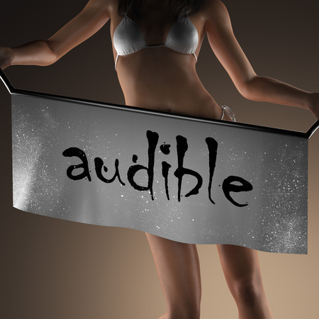 audible: audible word on banner and bikiny woman