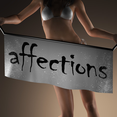 affections: affections word on banner and bikiny woman