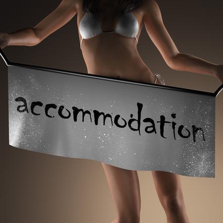 accommodation: accommodation word on banner and bikiny woman