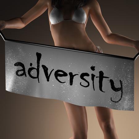 adversity: adversity word on banner and bikiny woman