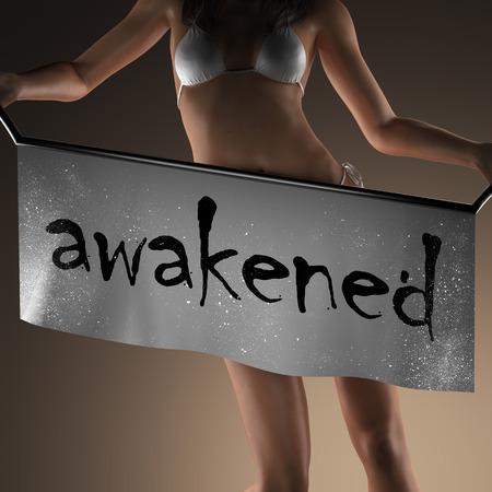 obudził: awakened word on banner and bikiny woman Zdjęcie Seryjne