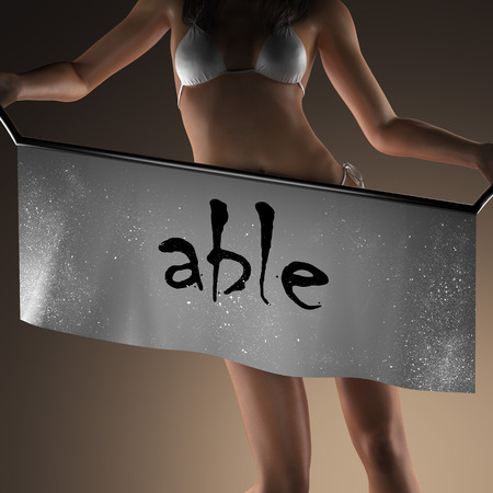 able: able word on banner and bikiny woman