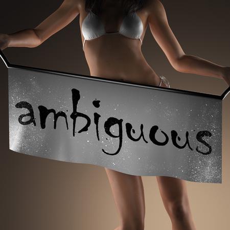 ambiguous: ambiguous word on banner and bikiny woman