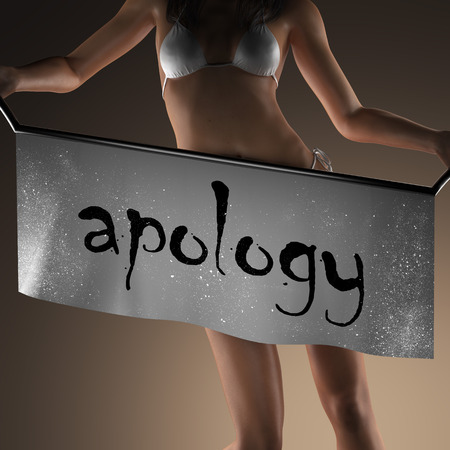apology: apology word on banner and bikiny woman Stock Photo