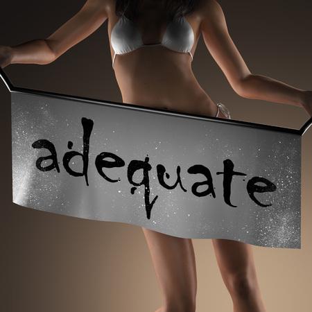 adequate: adequate word on banner and bikiny woman