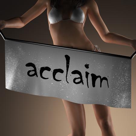 and acclaim: acclaim word on banner and bikiny woman Stock Photo