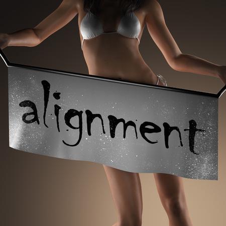 alineaci�n: alignment word on banner and bikiny woman