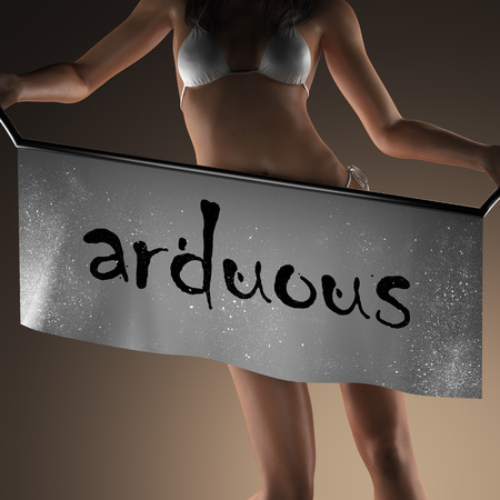 arduous: arduous word on banner and bikiny woman