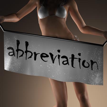 abbreviation: abbreviation word on banner and bikiny woman