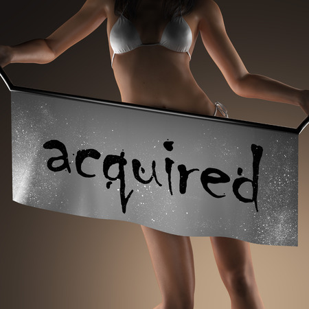 acquired: acquired word on banner and bikiny woman Stock Photo