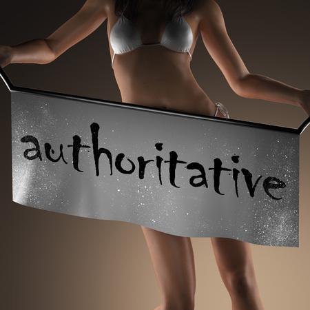 authoritative: authoritative word on banner and bikiny woman