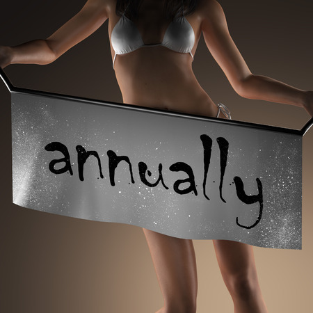 annually: annually word on banner and bikiny woman