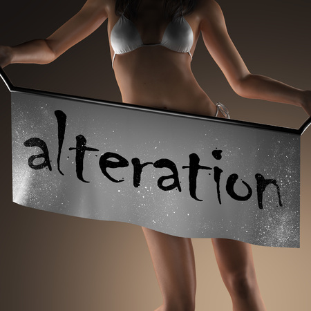 alteration: alteration word on banner and bikiny woman Stock Photo