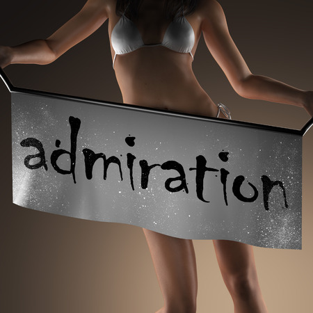 admiration: admiration word on banner and bikiny woman