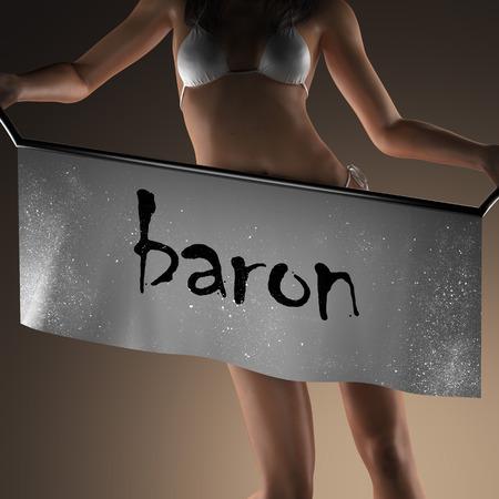 baron: baron word on banner and bikiny woman Stock Photo