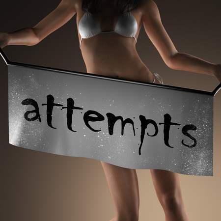 attempts: attempts word on banner and bikiny woman Stock Photo