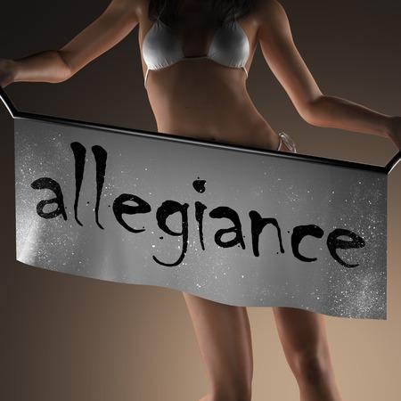 allegiance: allegiance word on banner and bikiny woman