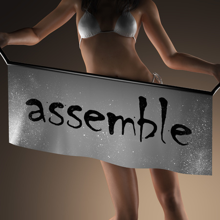 assemble: assemble word on banner and bikiny woman