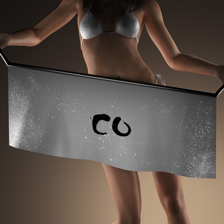 co: co word on banner and bikiny woman