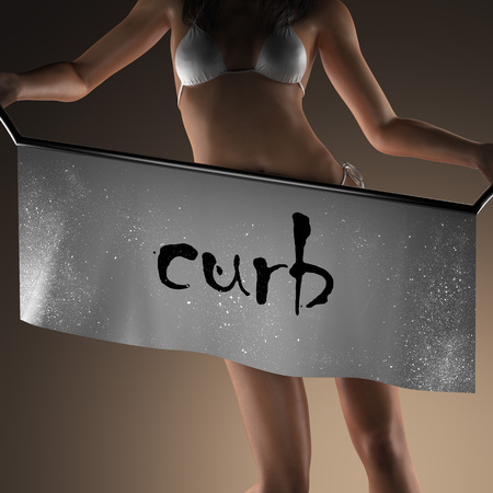 curb: curb word on banner and bikiny woman