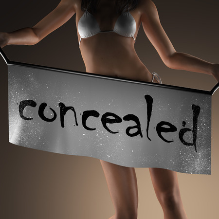 concealed: concealed word on banner and bikiny woman Stock Photo