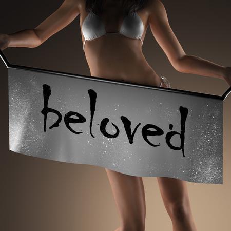 beloved: beloved word on banner and bikiny woman