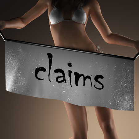 claims word on banner and bikiny woman Stock Photo