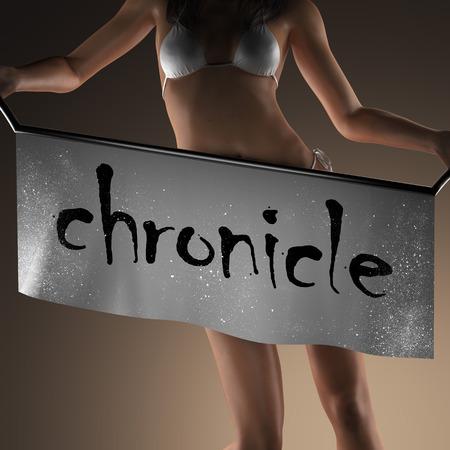 chronicle: chronicle word on banner and bikiny woman