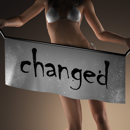 changed: changed word on banner and bikiny woman Stock Photo