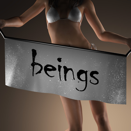 beings: beings word on banner and bikiny woman