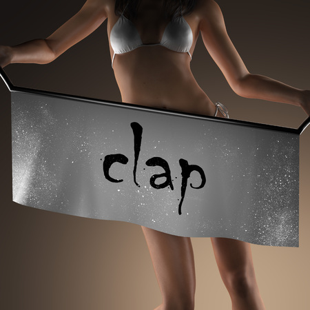 clap: clap word on banner and bikiny woman
