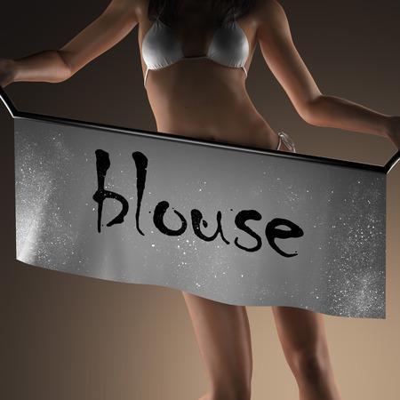 blusa: palabra blusa en banner y mujer bikiny Foto de archivo