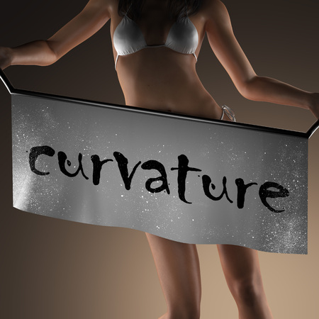 curvature: curvature word on banner and bikiny woman Stock Photo