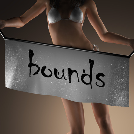 bounds: bounds word on banner and bikiny woman