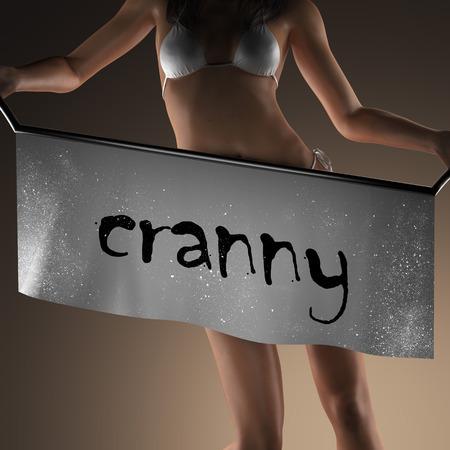 cranny: cranny word on banner and bikiny woman Stock Photo