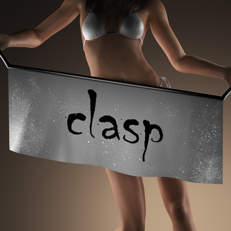 clasp: clasp word on banner and bikiny woman